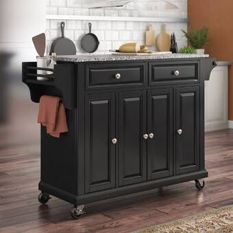 Three Posts Hedon Kitchen Island With Stainless Steel Top Reviews Wayfair Kitchen Island With Granite Top Kitchen Cart Kitchen Island Cart