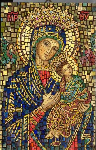"32/"" Handmade Religious Icon Virgin Mary Church Home Decor Marble Mosaic Art"