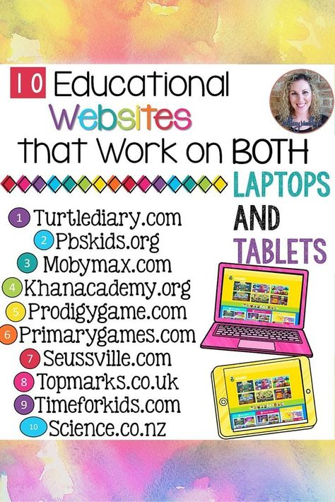 If you have a mixed tech classroom like mine then you will love knowing that these websites all have educational content that works on both a laptop and tablet! Teaching Technology, Educational Technology, Technology Tools, Technology Integration, Educational Leadership, Educational Websites For Kids, Educational Crafts, Preschool Websites, Kids Websites