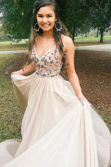 c3bde27dfa1c Charming V neck Beaded A Line Chiffon Long Prom Dress with Appliques by  fancygirldress, $145.80 USD