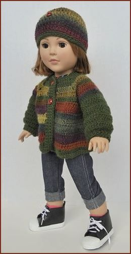 "Mini Mochi Crochet 18"" Doll Sweater Hat, free doll pattern, Crystal Palace Yarns"