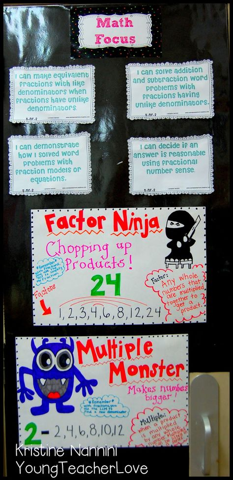 Young Teacher Love: Teaching factors and multiples with factor ninja and multiple monster!