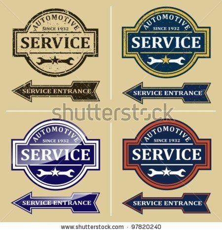 Stock Vector Vintage Automotive Repair Shop Sign Signs And Labels
