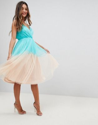 ASOS PREMIUM Pleated Tulle Color Block Midi Dress | Prom