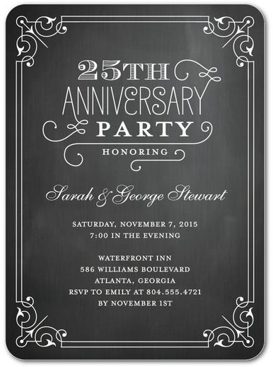 Chalked Elegance - Signature White Anniversary Party Invitations - anniversary invitation