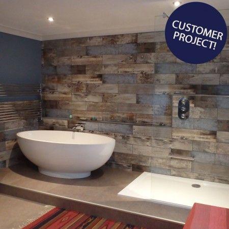 Rustic Blue Reclaimed Wood Effect Tiles Wood Tile Bathroom Blue Bathroom Tile Wood Effect Tiles