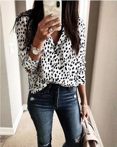 8bcd5e8bb71b7e Leopard Print Blouse Shirt Women Long Sleeve V Neck Shirt 2018 Autumn  Winter Fashion Button Ladies Tops Casual Loose Clothing  blouses  shirts   shirt  new ...