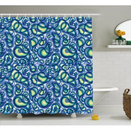 Paisley Decor Shower Curtain Indian Ocean Waves Like Design With Big And Small Raindrops Alike Shower Curtain Hooks Cotton Shower Curtain Shower Curtain Sizes