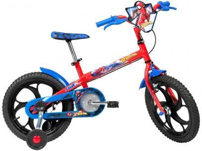 Bicicleta Infantil Aro 16 Caloi Spider Man Vermelha Com Rodinhas