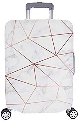Modern Geometry Black Spandex Trolley Case Travel Luggage Protector Suitcase Cover 28.5 X 20.5 Inch