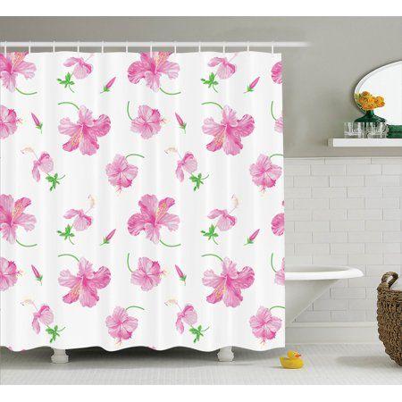 Flower Decor Shower Curtain Set Hibiscus Flowers On Plain