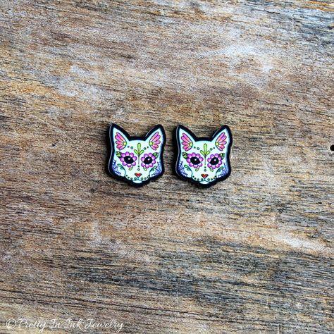 Kitty White Sugar Skull Earrings