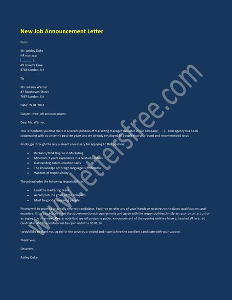 New Job Announcement Letters Are Usually Written By The Person Assigned For  The Job Of Announcing New And Upcoming Job Positions In Any Organizatiou2026