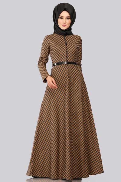 Modaselvim Elbise Minik Ekose Desenli Elbise 8378 D170 Taba Muslim Fashion Outfits Maxi Dress With Sleeves Hijab Fashionista