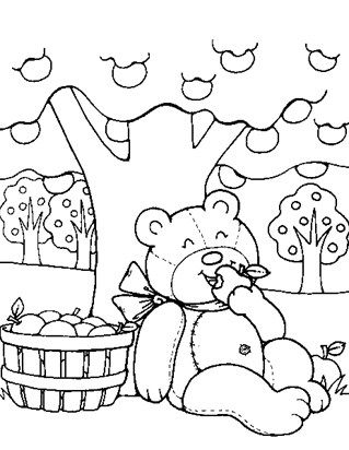 Teddy Bear Apples Coloring Page Bear Coloring Pages Apple