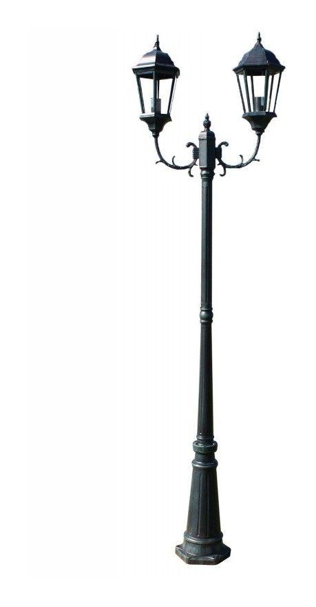 Lampadaire De Jardin 2 Bras 230 Cm Vert Fonce Noir Aluminium