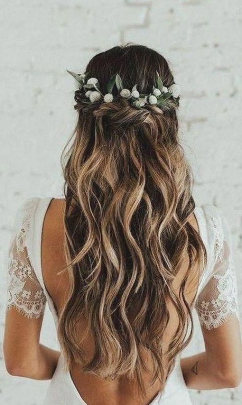 20 Brilliant Half Up Half Down Wedding Hairstyles for 2019 - EmmaLovesWeddings -  half up half down wedding hairstyle with flower crown #weddingbraids  - #beautifulhairstylesforwedding #brilliant #emmalovesweddings #hairstyles #wedding #weddinghairstyle