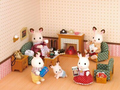Calico Critters Deluxe Living Room Set Fireplace Drawing Sylvanian Families Miniature Dollhouse Furniture