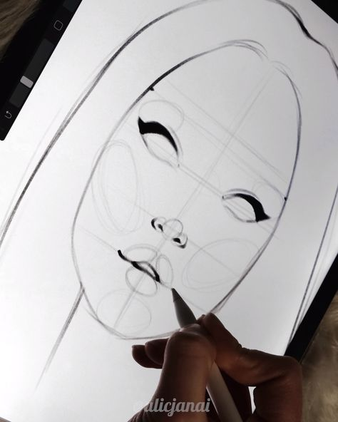 Sketching A Face Process on Procreate by Alicjanai