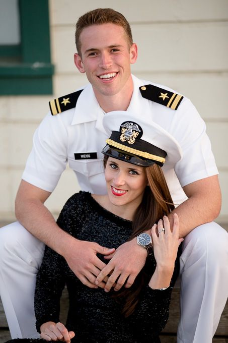 Engagement photo of Aubrianna wearing Daniels United States Navy officer hat