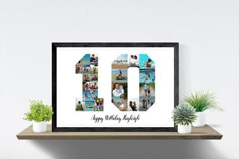 10th Birthday Photo Collage Anniversary Collage Number Ten Etsy Birthday Photo Collage Birthday Photos 10th Birthday