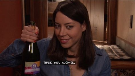 April Ludgate and her alcohol / Parks and Recreation / Parks And Recreation, Parks N Rec, Jean Valjean, Victor Hugo, April Ludgate Quotes, Bank Teller, Best Of Tumblr, Aubrey Plaza