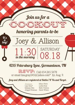Red Check Cookout Invitation With