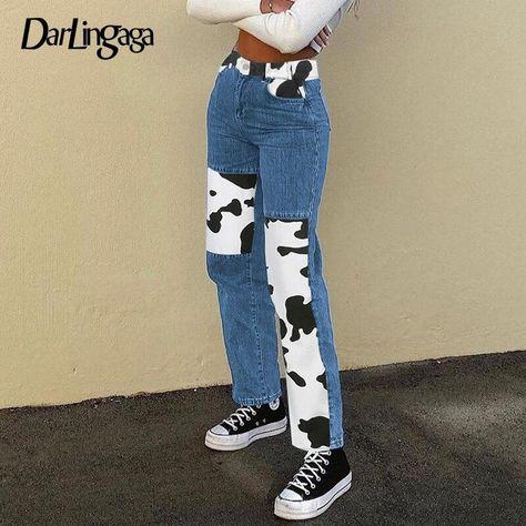 Darlingaga Fashion Patchwork Blue Ladies Jeans High Waist Woman Pants Streetwear Striaght Denim Pants Contrast Color Pantalones - Blue-Cow Print / L
