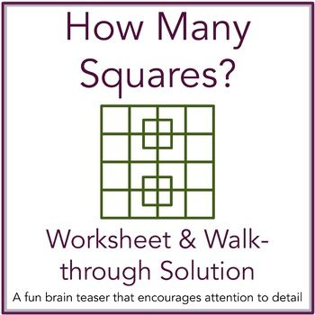 How Many Squares Math Brain Teaser Worksheet And Solution With Powerpoint Brain Teasers Geometry Lessons Math