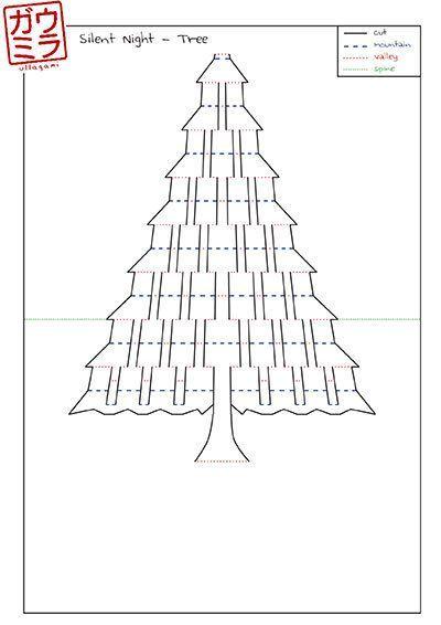 Diy Template Silent Night Christmas Tree Card Kirigami Pop Up Paper Sculpture Christmas Tree Cards Kirigami Kirigami Templates