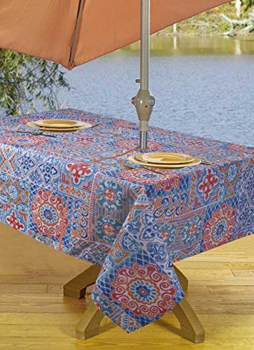 Tablecloths Outdoor Tablecloth With Umbrella Hole Zipper 54 By