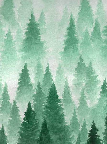 Printed Watercolor Forest Green Pine Tree Backdrop 6865 In 2020
