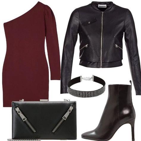c3da182b5b78 Outfit composto da abito monospalla con arricciatura sulla manica ...