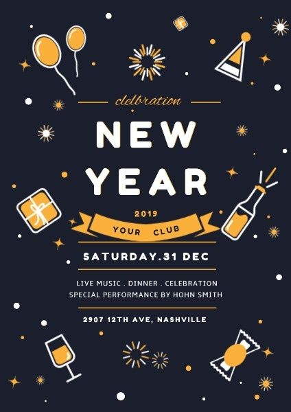 How To Design A New Year Party Poster Click For More New Years Party Party Poster Poster Design Online