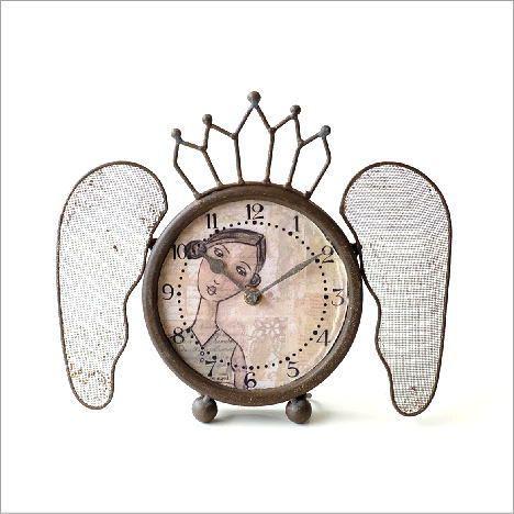 置き時計 おしゃれ アンティーク レトロ アナログ ブロカント シャビー 可愛い デザイン 卓上 時計 スタンドクロック レトロなウィング付き置き時計 Dcr4900 置き時計 置き時計 おしゃれ 時計