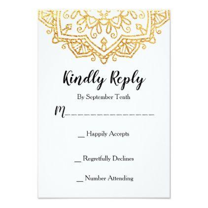 Gold Mandala Wedding Invitation Rsvp Response Card Zazzle Com