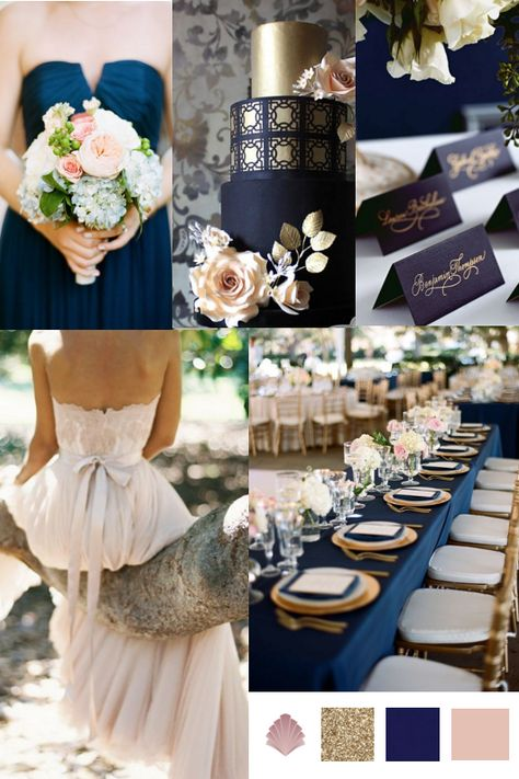 For A Sophisticated Wedding Day Palette Team Luxurious Navy With Flashes Of Metallic Gold And Delicate Blush Pink An Ont Yet Effortless Colour