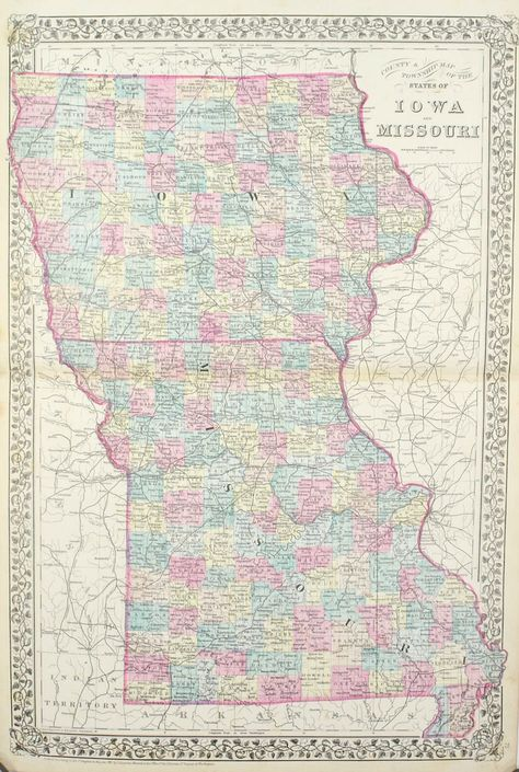 1881 County Township Map Of The States Of Iowa And Missouri S