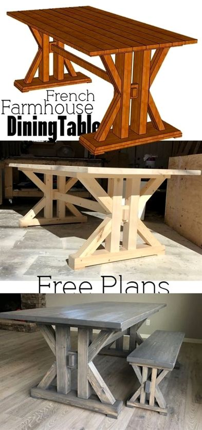 In need of the perfect farmhouse table? Why not DIY this French Farmhouse Dining Table Free Plans for the home kitchen In need of the perfect farmhouse table? Why not DIY this French Farmhouse Dining Table Free Plans for the home kitchen Farmhouse Table Plans, Farmhouse Kitchen Tables, Diy Dining Table, Farmhouse Furniture, Rustic Furniture, Dining Rooms, Diy Kitchen Tables, Kitchen Wood, Farmhouse Decor
