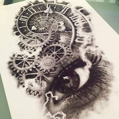 This appears to be the inside workings of some sort of clock which are situated directly above the open eye of what may be a woman. There is either smoke or some type of current running or joining each corner of the eye to the clocks working parts.