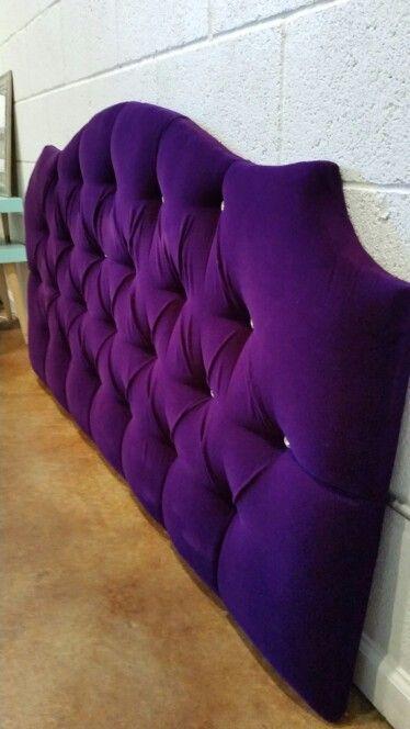 Queen Tufted Upholstered Headboard Purple Velvet Crystal Buttons