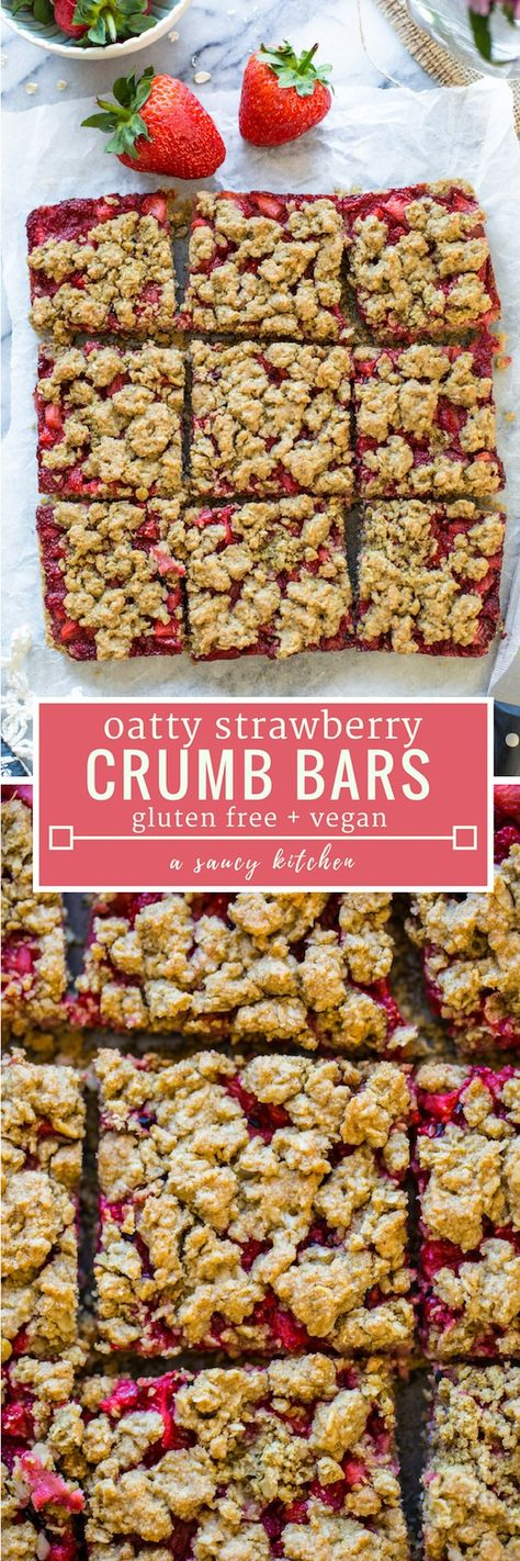 Simple, oatty Strawberry Crumb Bars spiced with a touch of cinnamon and sweetened with maple syrup to make it low FODMAp friendly | #GlutenFree + #Vegan + #NutFree #strawberrycrumble #crumbbars #summerrecipes #crumble