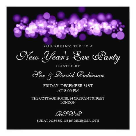 New Year S Eve Party Purple Bokeh Lights Invitation Zazzle Com New Years Eve Party New Years Eve Invitations Party Invite Design