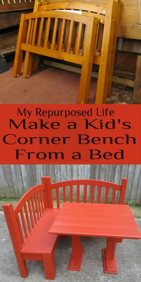 """Previous pinner wrote, """"My Repurposed Life--Make a Kids Corner Bench from a Bed... Could make as outside furniture as well..."""""""