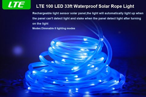 Amazon Com Lte Solar Rgb Rope Lights 100 Led 8 Modes 33ft Outdoor Waterproof Solar Strip Light Rgb Christmas Rope Lights Outdoor Rope Lights Rope Lights