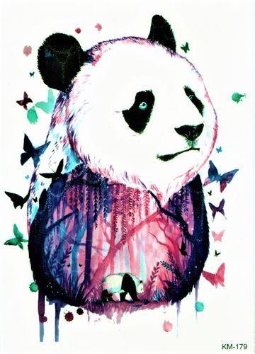 Panda Tier Bunt Wald Aquarell Aquarell Tiere Aquarell Bunt
