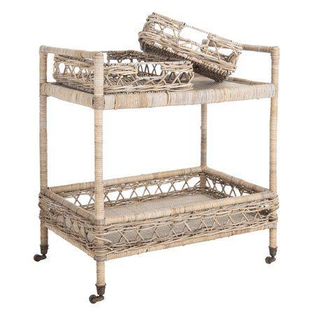 Home Rattan Bar Cart Furniture