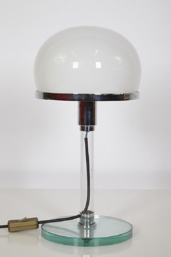 This Model Mt10 Bauhaus Style Table Lamp Was Designed By Wilhelm Wagenfeld And Carl Jakob Jucker For Imago Dp In The 1920s It Features A Glass Foot Lampshade