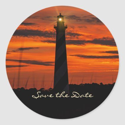 Gorgeous Cape Hatteras Lighthouse Save The Date Classic Round Sticker Zazzle Com Lighthouse Wedding Hatteras Lighthouse Cape Hatteras Lighthouse