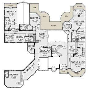 House Plan 5445 00422 Luxury Plan 15 658 Square Feet 6 Bedrooms 8 5 Bathrooms Ranch Home Floor Plans Luxury Plan Luxury Floor Plans